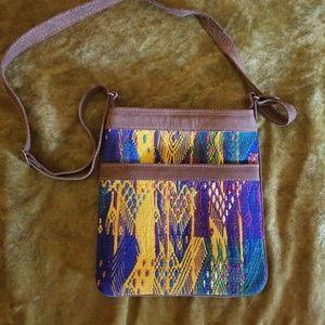 Huipil & Leather Crossbody Bag